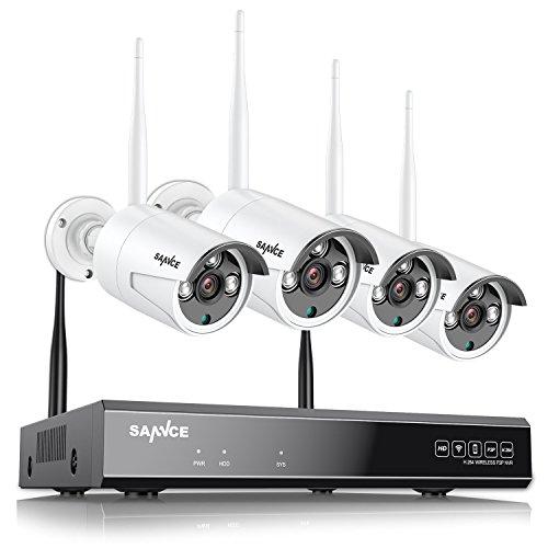 SANNCE Funk Überwachungskamera System HD 1080P 4CH Wireless HDMI NVR mit 4 Outdoor 720P WLAN Kamera Video Überwachungsset, 30M IR Nachtsicht, für Innen und außen IP66 Wetterfest(No HDD) Kamera-kit