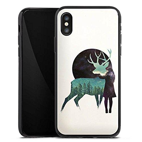 Apple iPhone X Silikon Hülle Case Schutzhülle Hirsch Mädchen Mond Silikon Case schwarz
