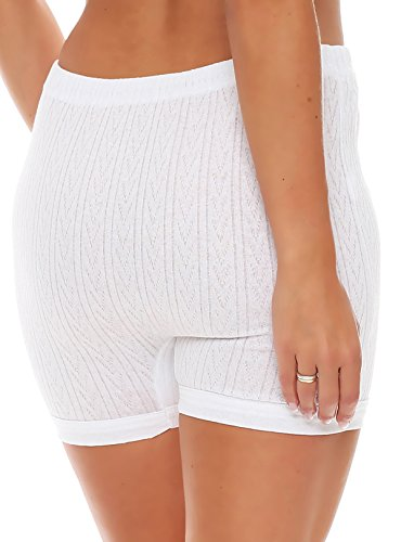 3er Pack Damen Slip mit Bein oder ohne Bein, weiß oder mit Blumen Muster (Schlüpfer, Unterhose) 438-444 (40/42, 442) - 3