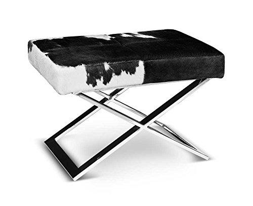 Neuerraum elegante mucca pelle sgabello con gambe a forma di x acciaio inox. vera pelle di mucca in bianco e nero.