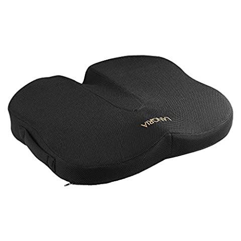LANGRIA Orthopaedic Memory Foam Seat Cushion, Anti-Slip Bottom, Medium-Soft Firmness, Handle for Easy Transport, Chair and Car Seat Flat Cushion for Back, Coccyx, Tailbone, Sciatica Pain Relief,