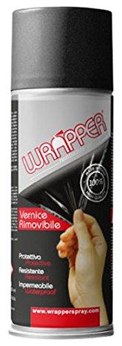 Quattroerre 16450 Wrapper Spray Vernici Rimovibili Tinta Metallizzata, Nero