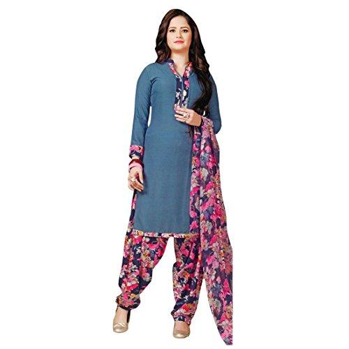Ladyline French Crepe Printed Salwar Kameez Suit Indian Pakistani dress (Milly-24-4012)
