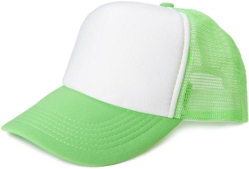 styleBREAKER 5 Panel Mesh Cap 04023007 (Weiß-Neongrün)