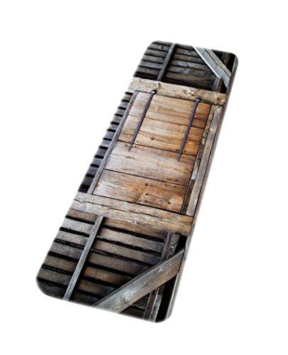 A.Monamour Badematten Badteppiche Badvorleger Rustikale Retro Garten Zaun Holz Planken Scheune Garagentor 3D Kunstdruck Mikrofaser Flanell Maschine Bad Matten Teppiche Haustür Teppiche Fußmatten (Garagentore Holz)