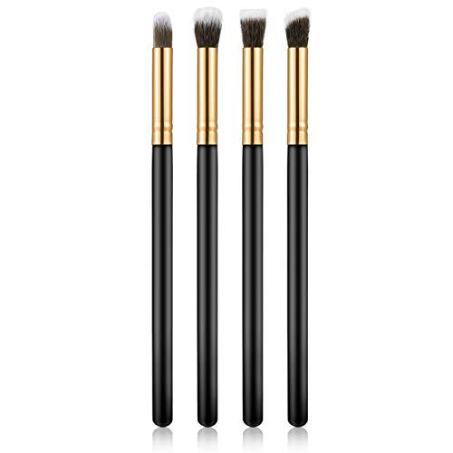 4pcs / set professionnel pinceaux pour les yeux mis fard à paupières Fondation Mascara mélange crayon brosse outil de maquillage cosmétique noir populaire vente or et noir