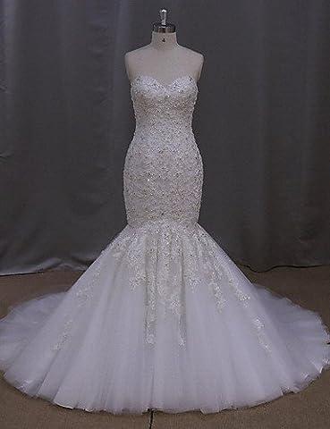 Heart&M Trumpet / Mermaid Wedding Dress Sweep / Brush Train Sweetheart Tulle with Appliques / Beading / Crystal , us 16w / uk 20 / eu