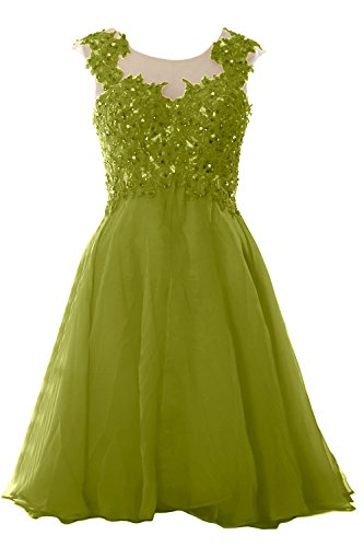 MACloth Women Lace Chiffon Short Prom Dress Wedding Party Formal Homecoming Gown Olive Green