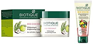 Biotique Bio Coconut Whitening And Brightening Cream, 50g And Biotique Bio White Advanced Fairness Face Wash, 100ml