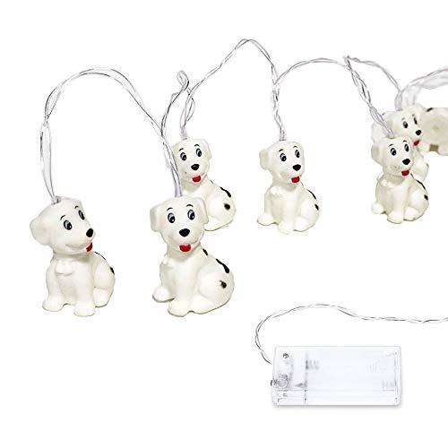 LED Cute Animal Fairy Lights DINOWIN Décoratif Intérieur Mini Bande Dessinée Feux De Corde pour Enfants À Piles Chaîne de Chambre À Coucher Chaud Blanc (Dalmatien)