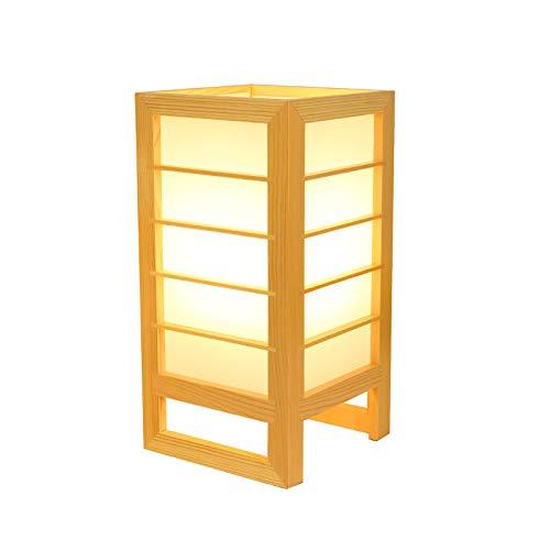 YU-K Lámpara de mesa de tatami de estilo japonés y sala Lámpara de madera maciza lámpara de mesa de cabecera de dormitorio de lámpara de madera maciza, 15 * 15 * 30 cm, luz blanca