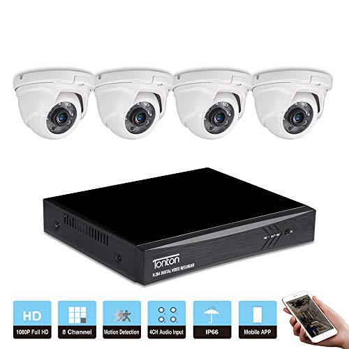 Tonton 8CH 1080P Outdoor Video Überwachungsset mit 4 X Full HD CCTV Outdoor 1080P Video Überwachungskamera Außen Wasserdicht Kamera ... Dual-hdmi-set