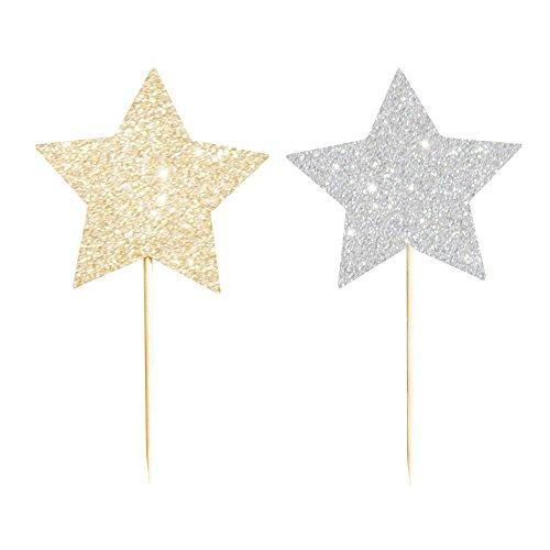 Illume 12 Schicke Funkelnde und glitzernde Stern-Cupcake Topper in Gold und Silber