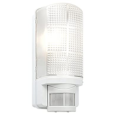 Saxby RH60 Modern Outdoor Garden Porch PIR IP44 Motion Sensor White Security Wall Light - inexpensive UK light shop.
