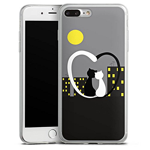 Apple iPhone 8 Slim Case Silikon Hülle Schutzhülle Love Katze Grau Silikon Slim Case transparent