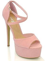 Sandali eleganti rosa con stringhe con tacco stiletto per donna 21deVK1dRW