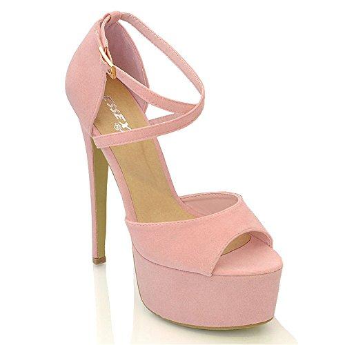 ESSEX GLAM Sandalo Donna Peep Toe con Lacci Plateau Tacco a Spillo Alto Rosa Pastello Finto Scamosciato