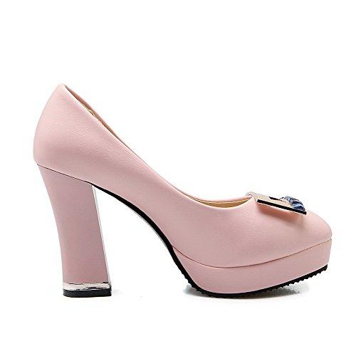 AllhqFashion Damen Ziehen Auf Pu Leder Rund Zehe Hoher Absatz Eingelegt Pumps Schuhe Pink