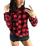 Tops Damen Frühling Herbst Fashion Classic Kariert Hemd Langarm Revers Einreihig Lässig Kleidung Vintage Office Bluse Oberteile Holzfällerhemd (Color : Rot, Size : S)