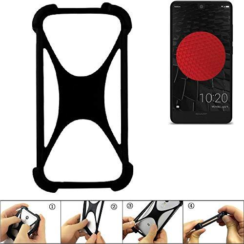 K-S-Trade Handyhülle für Sharp Aquos C10 Schutz Hülle Silikon Bumper Cover Case Silikoncase TPU Softcase Schutzhülle Smartphone Stoßschutz, schwarz (1x)