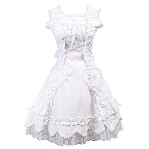 Partiss Damen Sweet Halter Lace Ruffles Victorian Lolita Kleid,XS,White (Brautkleid Lace Victorian)