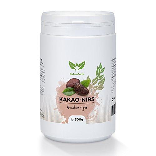 NaturaForte Kakao-Nibs 500g, Low-Carb Bohnen Vegan, Stark entölt, Ohne Zucker-Zusatz, Zum Backen (Kakao Mandeln)