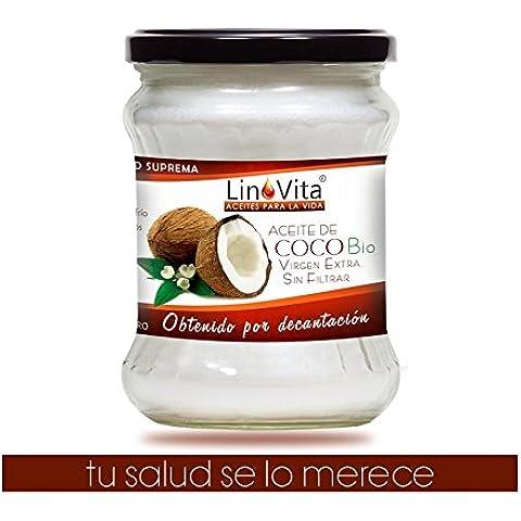 Aceite de Coco Integral Virgen Extra Bio de LinoVita, 1ª Presión en frío 100% PURO, CRUDO, SIN FILTRADOS INDUSTRIALES, obtenido mediante DECANTACIÓN –