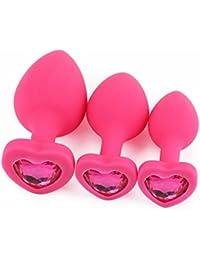 Rawdah 3 piezas de la base en forma de corazón rosa con joyas Piedra de nacimiento a la altura-anal-play Rose Jewel Sex