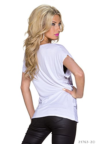 Fashion4Young 5761 t-shirt femme coupe décontractée sur le devant en blanc tattoo multicolore taille m/l - Weiß Multicolor