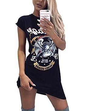 Desshok Maglietta Lunga da Donna T-shirt Top Eagle Printing Mini Abito O-collo Manica Corta Camicetta Casual