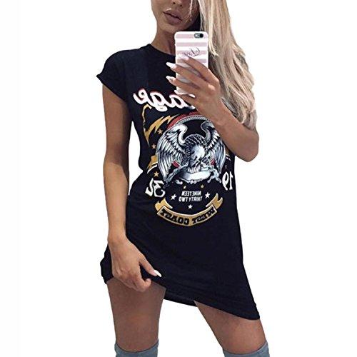 Desshok T-shirt long pour femmeTops Impression d'Eagle Mini-robe à manches courtes et col rond Blouse décontractée Noir