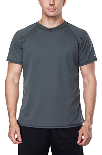 Attraco Herren Bademode Rashguard UV Schutz Shirts Kurzarm Surf Shirt Schwimmshirt UPF 50+ Grau XL