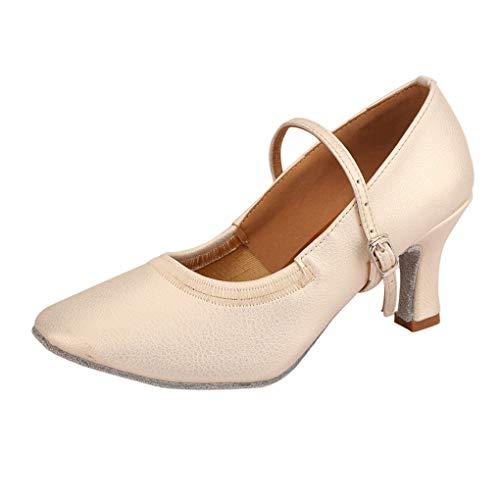 (Dorical Damen Tanzschuhe/Mode Latein Hoher Absatz Tanzschuhe mit Schnalle/Solid Walzer Tanzschuhe für Halloween Performance-Schuhe Valentinstag Schuhe (Beige,40 EU))