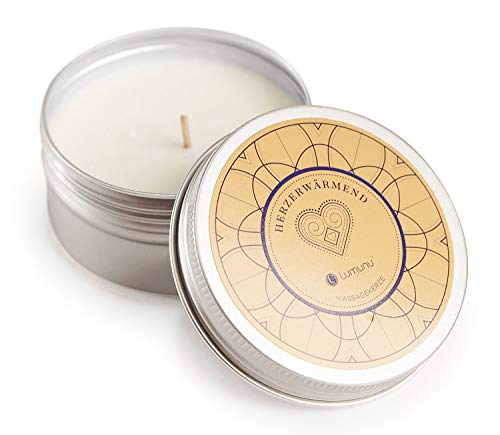 Deluxe Aroma Massagekerze Herzerwärmend, pflegendes Massagewachs in Metall-Dose, Massage Duftkerze aus natürlichen Soja & Kokosölen, von Venize