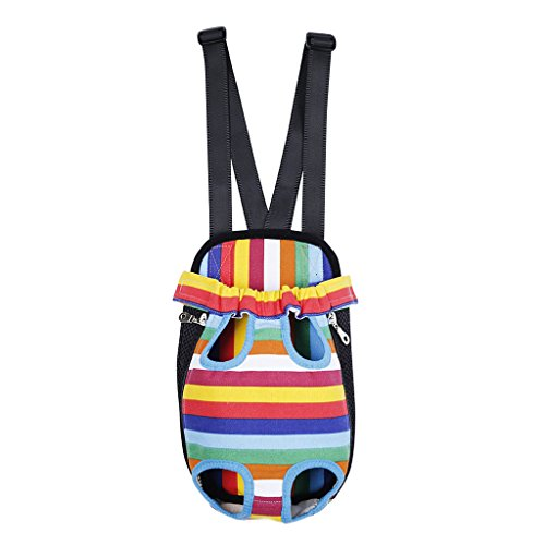 Imported Nylon Pet Dog Cat Carrier Backpack Front Tote Carrier Net Bag Rainbow M