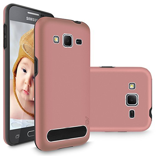Core Prime/Prevail LTE Case, Cellularvilla [Slim] [Drop Protection] [Dual Layer] Luxury Metal Aluminum Shockproof Back Case Cover for Samsung Galaxy Core Prime/Prevail LTE G360 (Rose Gold Black)