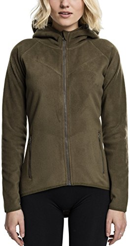 Urban Classics TB1728 Ladies Polar Fleece Zip Hoodie - Damen Outdoor Fleecejacke Einfarbig mit Kapuze und verlängertem Rückenteil - Olive, Größe XL (Microfleece Polar-fleece)