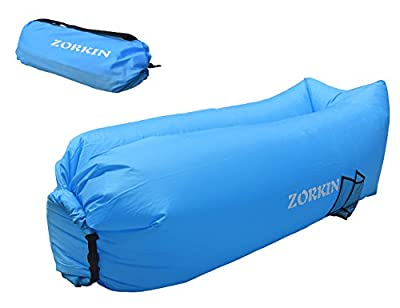 Zorkin Portable Inflatable Air Sofa, Ultra Waterproof and Durable 210T Oxford Fabric Lazy Lounger Couch Bed with 2 Pockets and 1 Bottle Holder for Indoor/Outdoor Lounging, Travelling, Camping, Beach, Park, Backyard, Picnics, Fishing, Swimming Pool and Mor