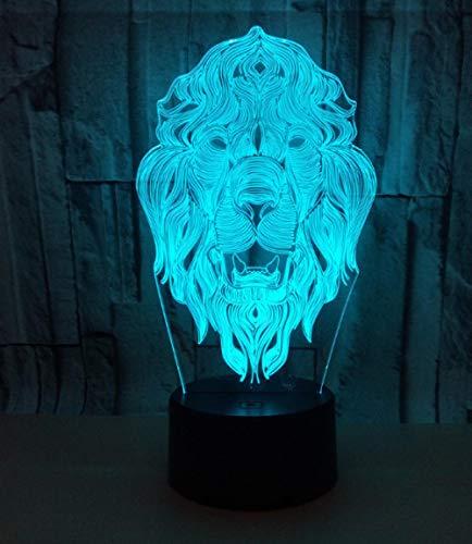 3D Optische Täuschung Nachtlicht Löwe 7 Farben Erstaunliche Optische Täuschung Die Schlafzimmer-Dekoration Für Kinder Weihnachten Halloween-Geburtstagsgeschenk Beleuchten
