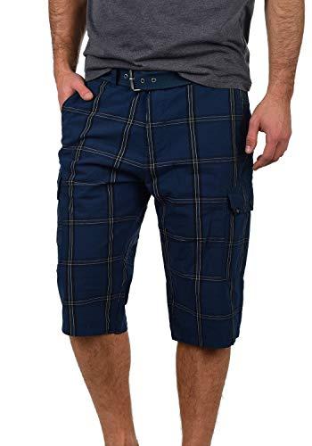Blau Karierte Cargo-shorts (Blend Hannes Herren Cargo Capri Shorts Bermuda Kurze Hose Mit Gürtel Aus 100% Baumwolle Regular Fit, Größe:L, Farbe:Navy (70230))