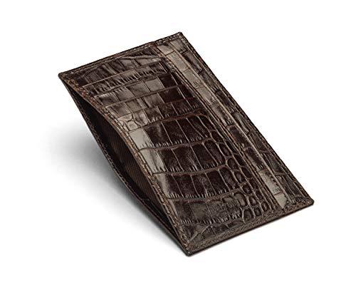 SageBrown Brown Croc Slim Flat Pocket Jotter Card Wallet - Croc Embossed Wallet