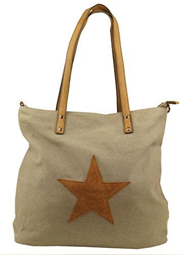 KENDT Design - Canvas Stern Tasche Damen, Stofftasche mit Leder Stern, Schultertasche Henkeltasche verschiedene Farben (F3150) (Navy-dunkelblau) Grau