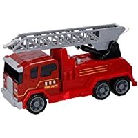 Guilty Gadgets ® Fire Engine Truck Toy, Battery Operated Electric Car Rescue Vehicle With Manual Water Pump Extending Ladder Flashing Lights For Kids