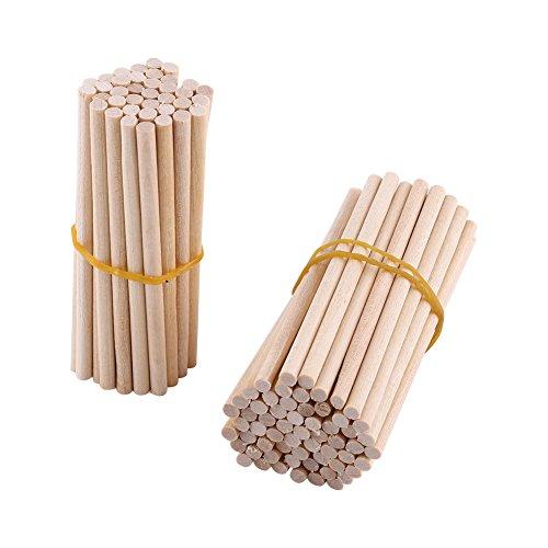 100 Stück Holzstäbe Holz Sticks 0,4 cm / 80mm Runde Lollipop Lolly Gebäude Modell Hausgarten