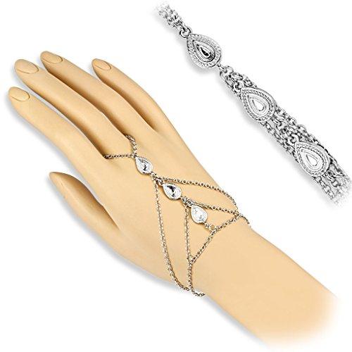 Bungsa Slave Chain Handkette silber mit Tränen Charms dreifach für Damen (Handschmuck Slave- Kette Bracelet Armband Fingerring Fingerkette Tear Drop - Silber-armband-finger-ring