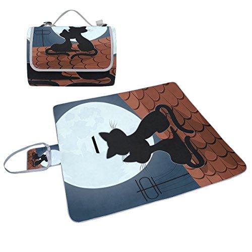 COOSUN Love Katzen auf dem Dach Picknick Decke Tote Handlich Matte Mehltau resistent und wasserfest Camping Matte für Picknicks, Strände, Wandern, Reisen, Rving und Ausflüge (Dach Outdoor-gras)