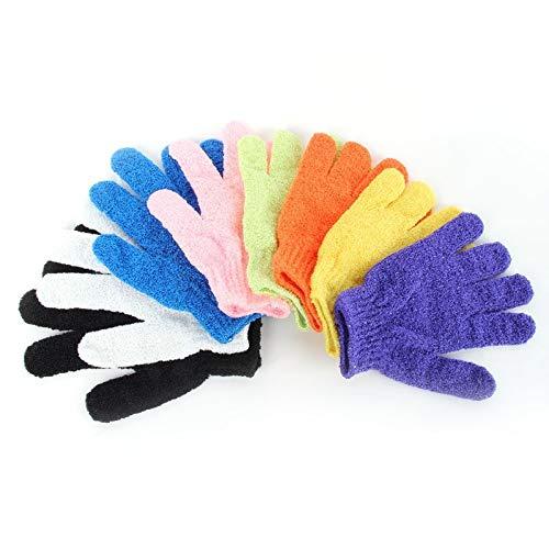 CARDMOE Badehandschuhe, Nylon, zum Peeling, für Dusche, Gesicht/Haut, Körperwäsche, Massage, Schlamm (zufällige Farbe)