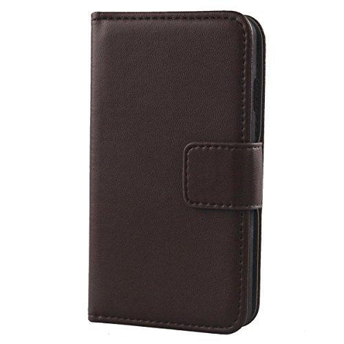 Gukas Design Echt Leder Tasche Für Jiayu S2 Hülle Handy Flip Brieftasche mit Kartenfächer Schutz Protektiv Genuine Premium Case Cover Etui Skin Shell (Dark Braun)