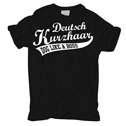 Männer und Herren T-Shirt Deutsch Kurzhaar (mit Rückendruck) Körperbetont schwarz