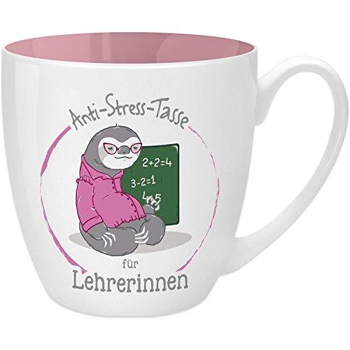 Gruss & Co 45496 Anti-Stress Tasse für Lehrerinnen, 45 cl, Geschenk, New Bone China, Rosa, 9.5 cm